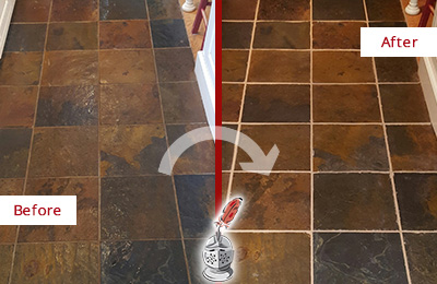 Before and After Picture of a Rosemont Slate Floor Recolored Grout