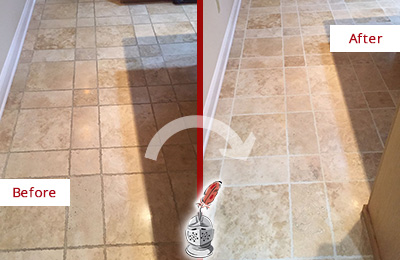 Before and After Picture of a Clinton Travertine Kitchen Floor Recolored Grout