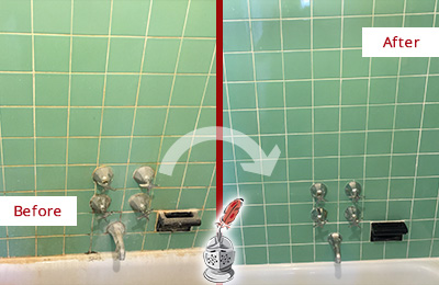Before and After Picture of a Far Hills Bath Tub Grout Sealed to Avoid Water Damage