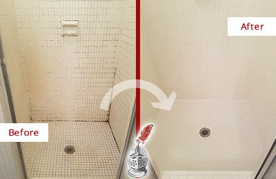 Before and After Picture of a Far Hills Bathroom Grout Sealed to Remove Mold