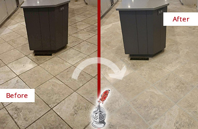 Before and After Picture of a Far Hills Kitchen Floor Grout Sealed to Remove Stains