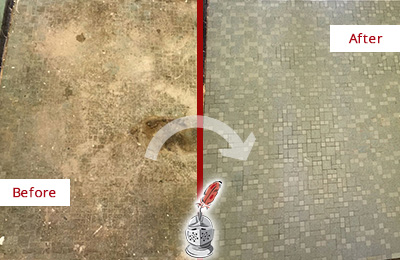 Before and After Picture of a Pottersville Mosaic Shower Cleaned to Eliminate Embedded Dirt