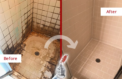 Before and After Picture of a Pottersville Ceramic Shower Cleaned to Remove Grime