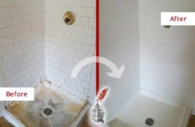 Before and After Picture of a Pottersville Shower Cleaned to Eliminate Mold